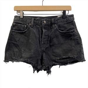 Free People Black Distressed Cutoff Denim Shorts